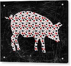 Poker Pig Acrylic Print by Flo Karp