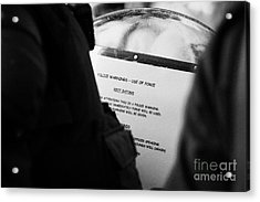 Police Baton Round  Riot Instructions On Inside Of Riot Shield On Crumlin Road At Ardoyne Shops Belf Acrylic Print by Joe Fox