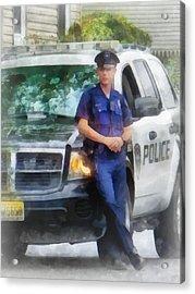 Police - Policeman By Patrol Car Acrylic Print by Susan Savad