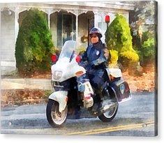 Police - Suburban Motorcycle Cop Acrylic Print by Susan Savad