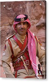 Policeman In Petra Jordan Acrylic Print by David Smith
