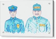 Policeman Security Guard Cartoon Acrylic Print by Mike Jory