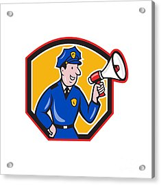 Policeman Shouting Bullhorn Shield Cartoon Acrylic Print by Aloysius Patrimonio