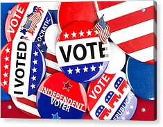 Political Badge Collection Acrylic Print by Joe Belanger