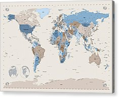 Political Map Of The World Acrylic Print by Michael Tompsett