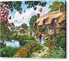 Pond Cottage Acrylic Print by Steve Crisp