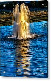 Pond Fountain Acrylic Print by Robert Bales