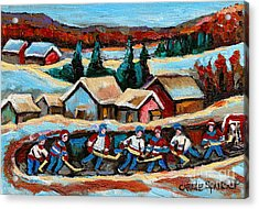 Pond Hockey Game In The Country Acrylic Print by Carole Spandau