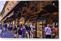 Ponte Vecchio Merchants - Florence Acrylic Print by Jon Berghoff