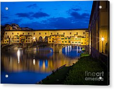 Ponte Vecchio Reflection Acrylic Print by Inge Johnsson