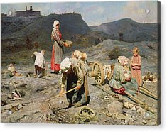 Poor People Gathering Coal At An Exhausted Mine Acrylic Print by Nikolaj Alekseevich Kasatkin