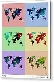 Pop Art World Map Acrylic Print by Naxart Studio
