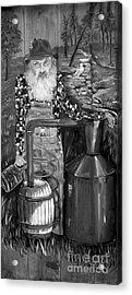 Popcorn Sutton - Black And White - Legendary Acrylic Print by Jan Dappen