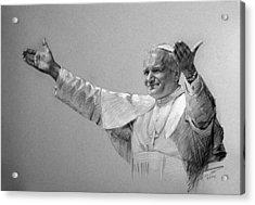 Pope John Paul II Bw Acrylic Print by Ylli Haruni