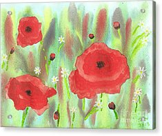 Poppies And Daisies Acrylic Print by John Williams