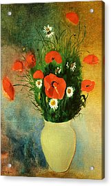 Poppies And Daisies Acrylic Print by Odilon Redon