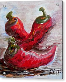 Poppin' Peppers Acrylic Print by Eloise Schneider
