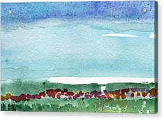 Poppy Field- Landscape Painting Acrylic Print by Linda Woods
