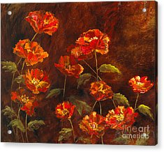Poppy Garden With Gold Leaf By Vic Mastis Acrylic Print by Vic  Mastis