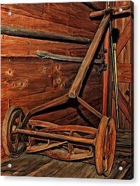 Pop's Old Mower Acrylic Print by Michael Pickett