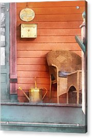Porch With Brass Watering Can Acrylic Print by Susan Savad