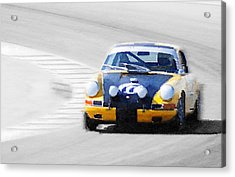 Porsche 911 On Race Track Watercolor Acrylic Print by Naxart Studio