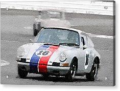 Porsche 911 Race In Monterey Watercolor Acrylic Print by Naxart Studio