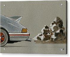 Porsche 911 Rs Classic 2 7 White Acrylic Print by Juan  Bosco
