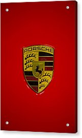 Porsche Emblem Red Hood Acrylic Print by Garry Gay