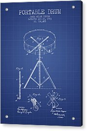 Portable Drum Patent From 1903 - Blueprint Acrylic Print by Aged Pixel