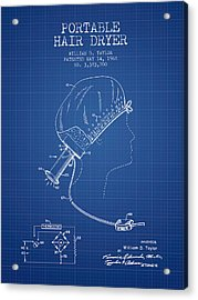 Portable Hair Dryer Patent From 1968 - Blueprint Acrylic Print by Aged Pixel