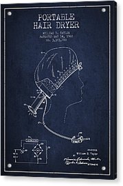 Portable Hair Dryer Patent From 1968 - Navy Blue Acrylic Print by Aged Pixel