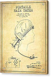 Portable Hair Dryer Patent From 1968 - Vintage Acrylic Print by Aged Pixel