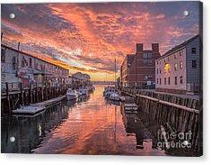 Portland Harbor Sunrise Acrylic Print by Benjamin Williamson