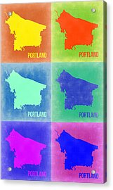 Portland Pop Art Map 3 Acrylic Print by Naxart Studio