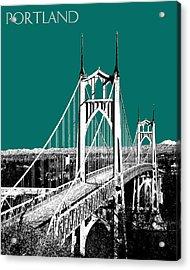 Portland Skyline St. Johns Bridge - Sea Green Acrylic Print by DB Artist