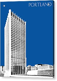 Portland Skyline Wells Fargo Building - Royal Blue Acrylic Print by DB Artist
