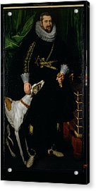 Portrait Of A Gentleman Said To Be From The Coudenhouve Family Of Flanders, C.1610-20 Oil On Canvas Acrylic Print by Hispano-Flemish School