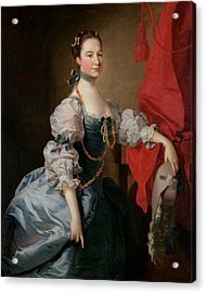 Portrait Of A Lady In A Blue Gown Acrylic Print by Thomas Hudson