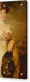 Portrait Of A Lady In A White Dress Acrylic Print by George Elgar Hicks