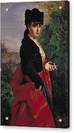 Portrait Of A Spanish Woman Acrylic Print by Heinrich Wilhelm Schlesinger