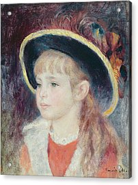Portrait Of A Young Girl In A Blue Hat, 1881 Oil On Canvas Acrylic Print by Pierre Auguste Renoir