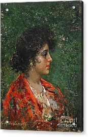 Portrait Of A Young Lady Acrylic Print by Celestial Images