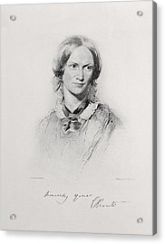 Portrait Of Charlotte Bronte, Engraved Acrylic Print by George Richmond
