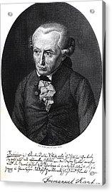 Portrait Of Emmanuel Kant  Acrylic Print by German School