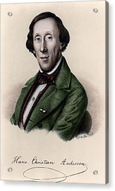 Portrait Of Hans Christian Andersen Acrylic Print by Johan Frederick Moller