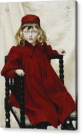 Portrait Of Harriet Fischer, Small Three-quarter Length, Wearing A Red Dress, 1896 Oil On Canvas Acrylic Print by Paul Fischer