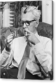 Portrait Of James Thurber Acrylic Print by Fred Palumbo