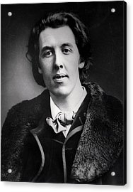 Portrait Of Oscar Wilde 1854-1900 Wearing An Overcoat With A Fur Collar Bought For His Trip Acrylic Print by English Photographer