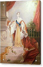 Portrait Of Queen Victoria Acrylic Print by Alfred-Edward Chalon